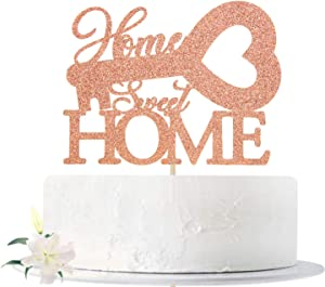Rose Gold Glitter Home Sweet Home Cake Topper, New Home - Family Theme Party Sign - Welcome Home, House Warming New Home Party Decoration Supplies