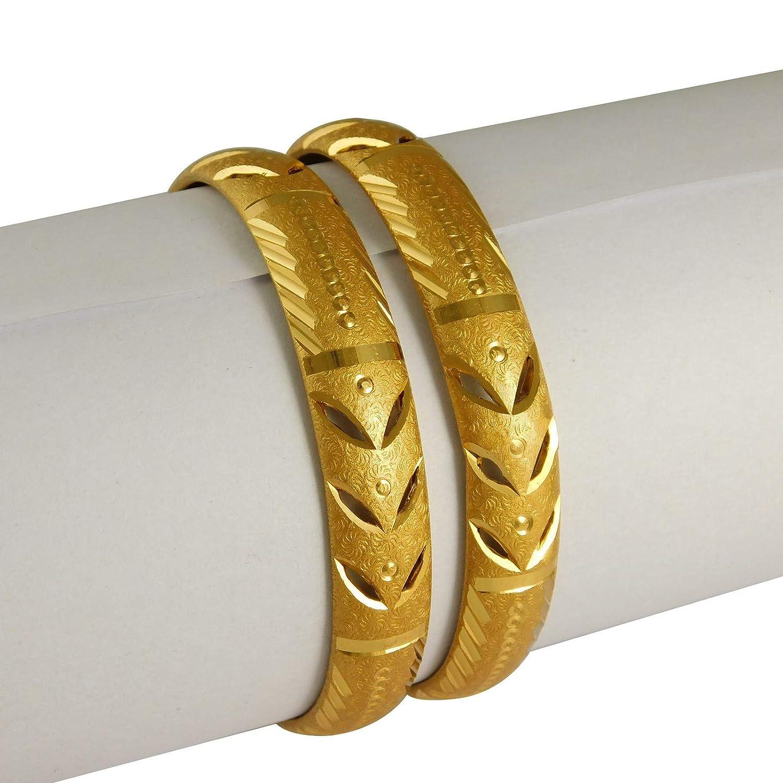 India ArtTraditional 18K Kada Bracelets Set 2ps Goldplated Bangle Bollywood Fashion Jewelry