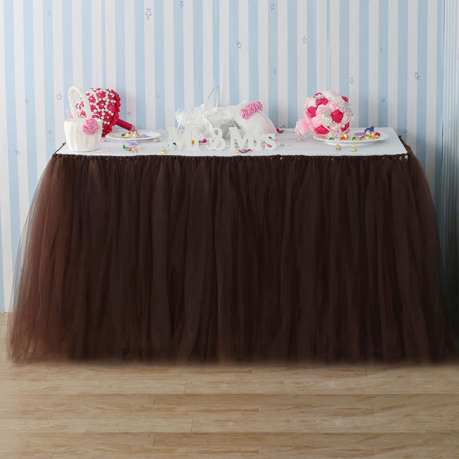 Fivejorya Baby Pink TUTU Table Skirt Tulle Tableware Table Cloth Tablecover Skirting for Wedding Christmas Baby Shower Birthday Party Cake Table Decor - 100cm x 80cm
