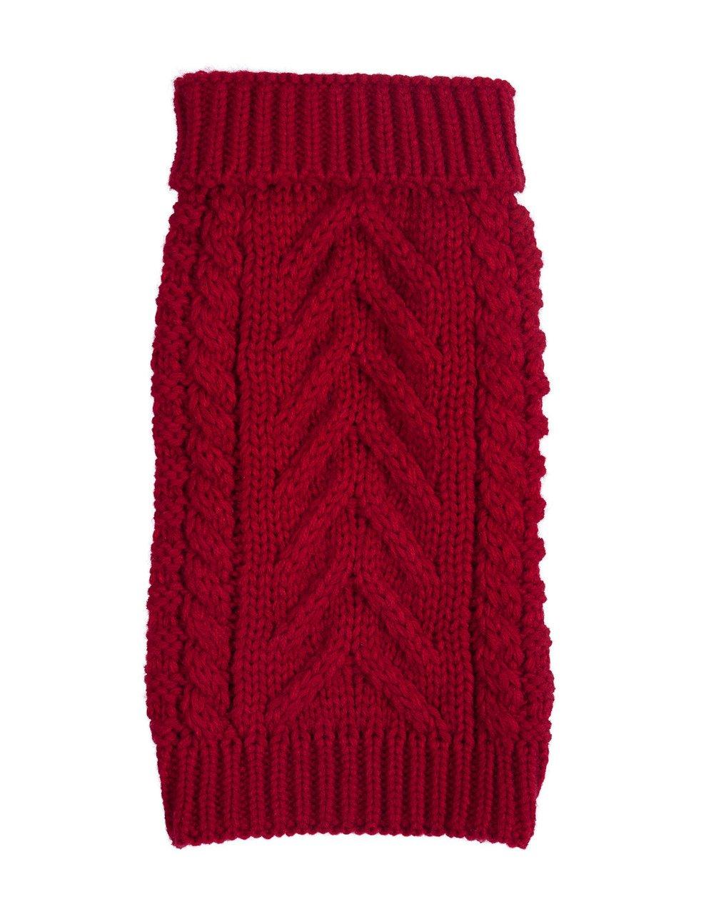fabdog Super Chunky Knit Turtleneck Dog Sweater Red (14'')
