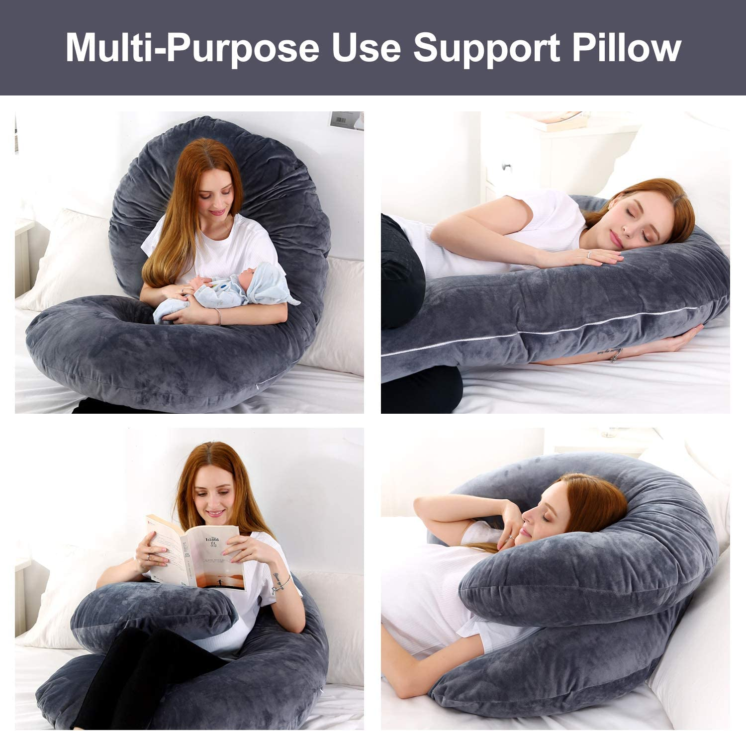 Dream night Big Size Pregnancy Pillow with Grey Jersey Cover Grey, 57 x 30inches C Shaped Full Body Pillow Comfort C Shaped Zootzi Pillow with Removable Washable Velvet Cover