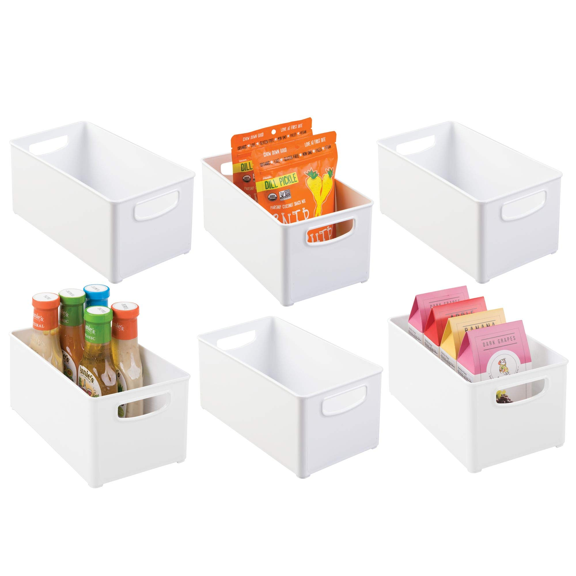 mDesign Stackable Kitchen Pantry Cabinet, Refrigerator or Freezer Food Storage Bins with Handles - Organizer for Fruit, Yogurt, Snacks, Pasta - BPA Free, 6 Pack, 10'' Deep Containers, White