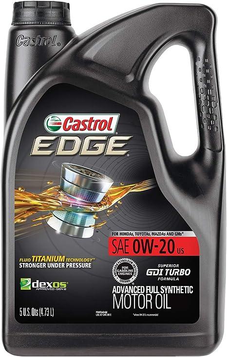 Full Synthetic Oil >> Castrol 03124 Edge 0w 20 Advanced Full Synthetic Motor Oil 5 Quart