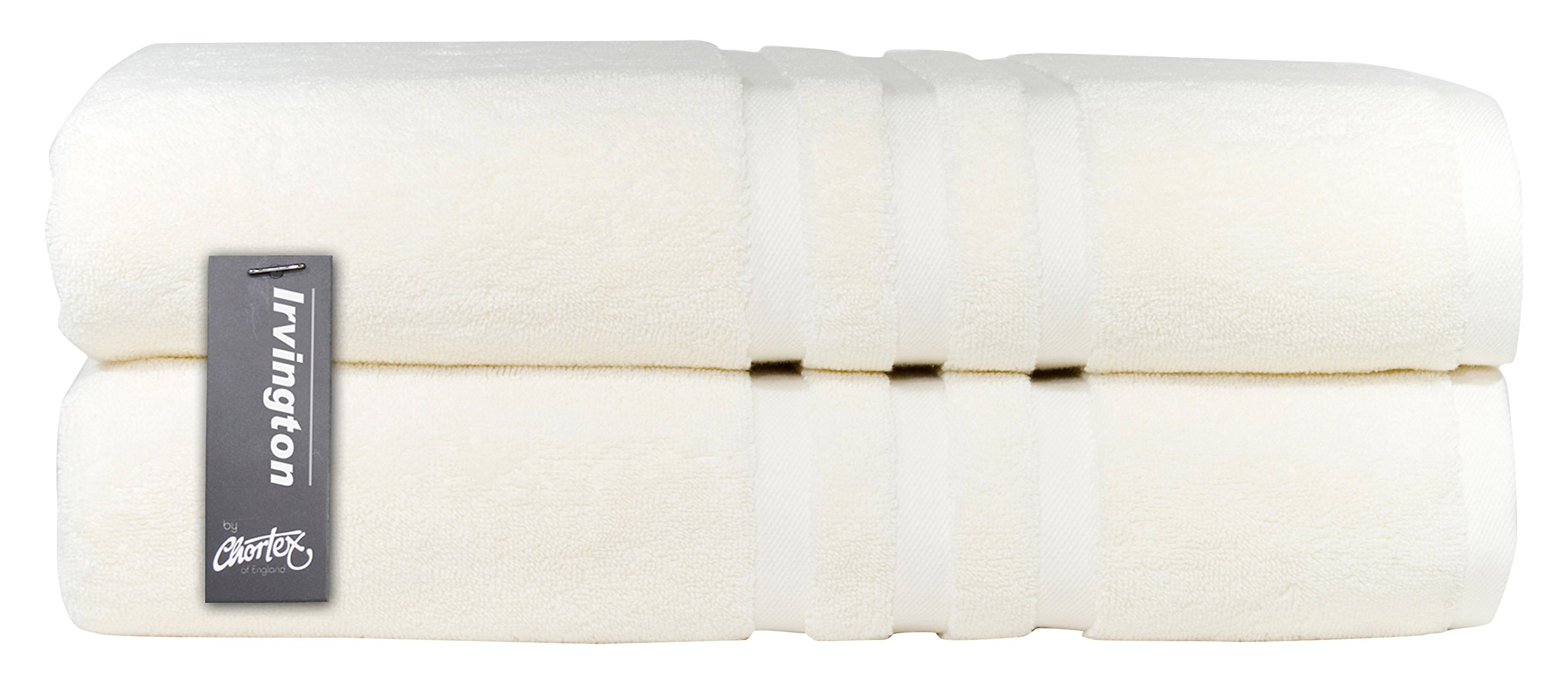 Chortex Luxury Turkish Cotton Bath Sheet (2 Pack), Pack of 2, Cream by Chortex (Image #1)