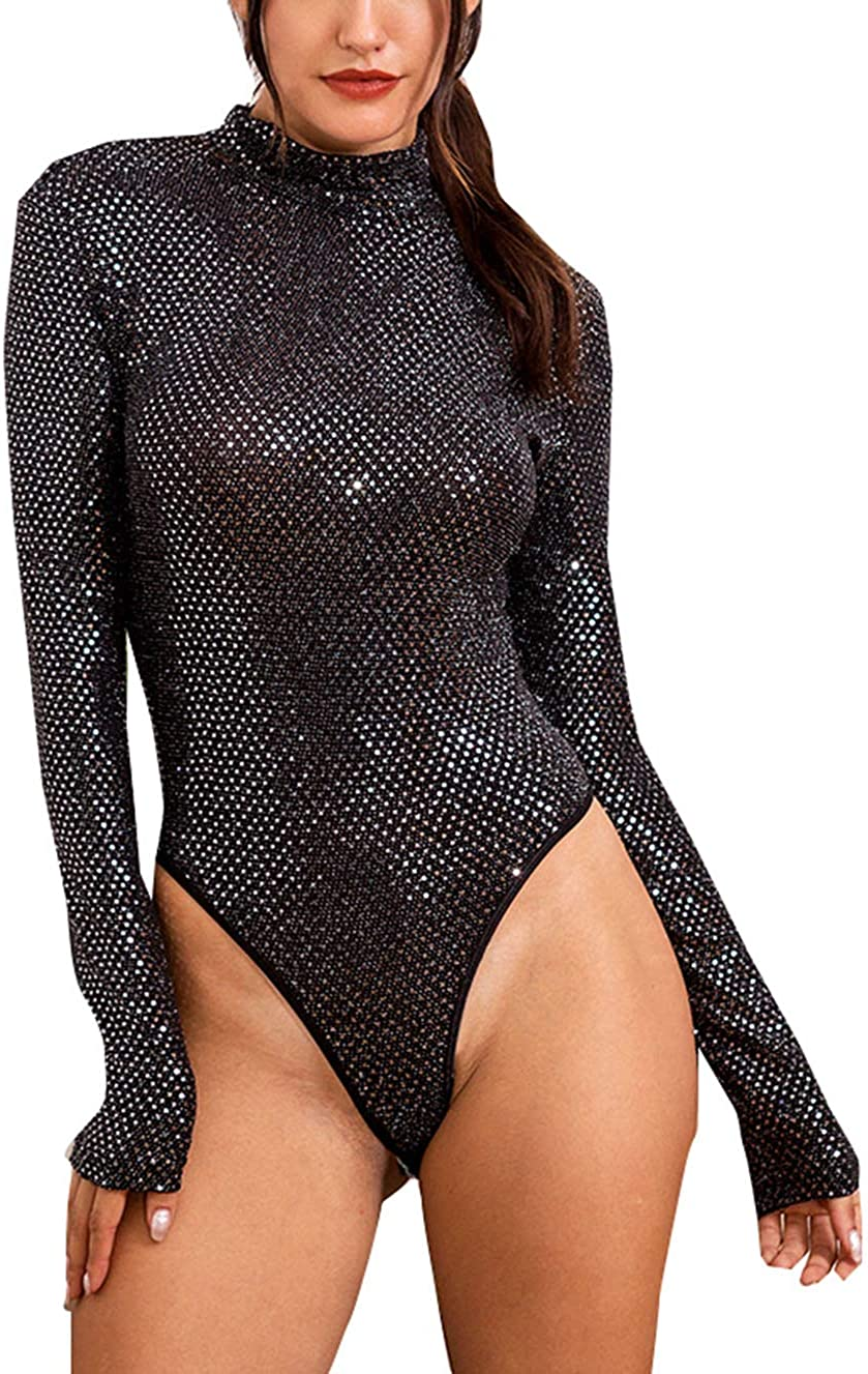 PALINDA Women's Turtleneck Metallic Glitter Sparkle Sequin Bodysuit Party Clubwear