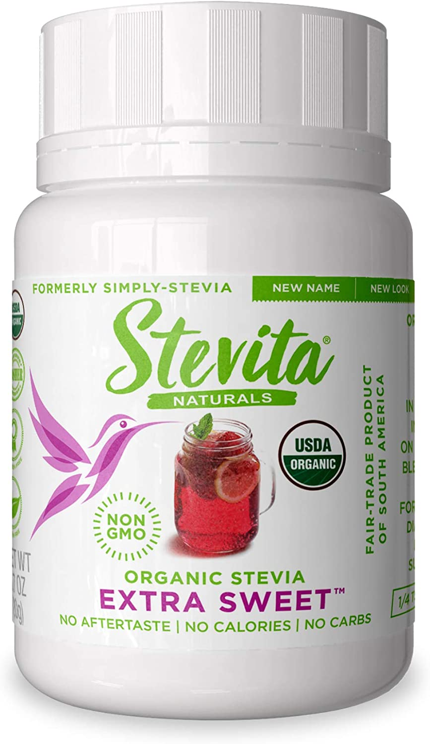 Stevita Simply Stevia Powder - .7 Ounce Jar - Pure Stevia All Natural, No Calorie Sweetener - USDA Organic, Non GMO, Vegan, Kosher, Paleo, Gluten-Free - 200 Servings