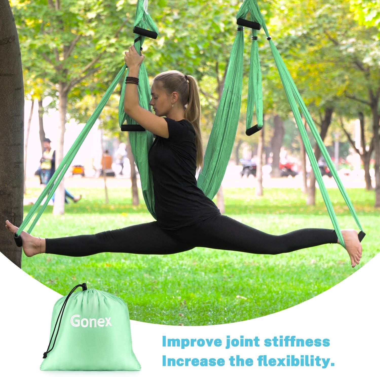 Blau//Lila//Hellgr/ün H/ängematte//Trapez//Tragetuch mit Anleitung Antigravity Decke H/ängende Yoga Schaukel Gonex Aerial Yoga Swing Set