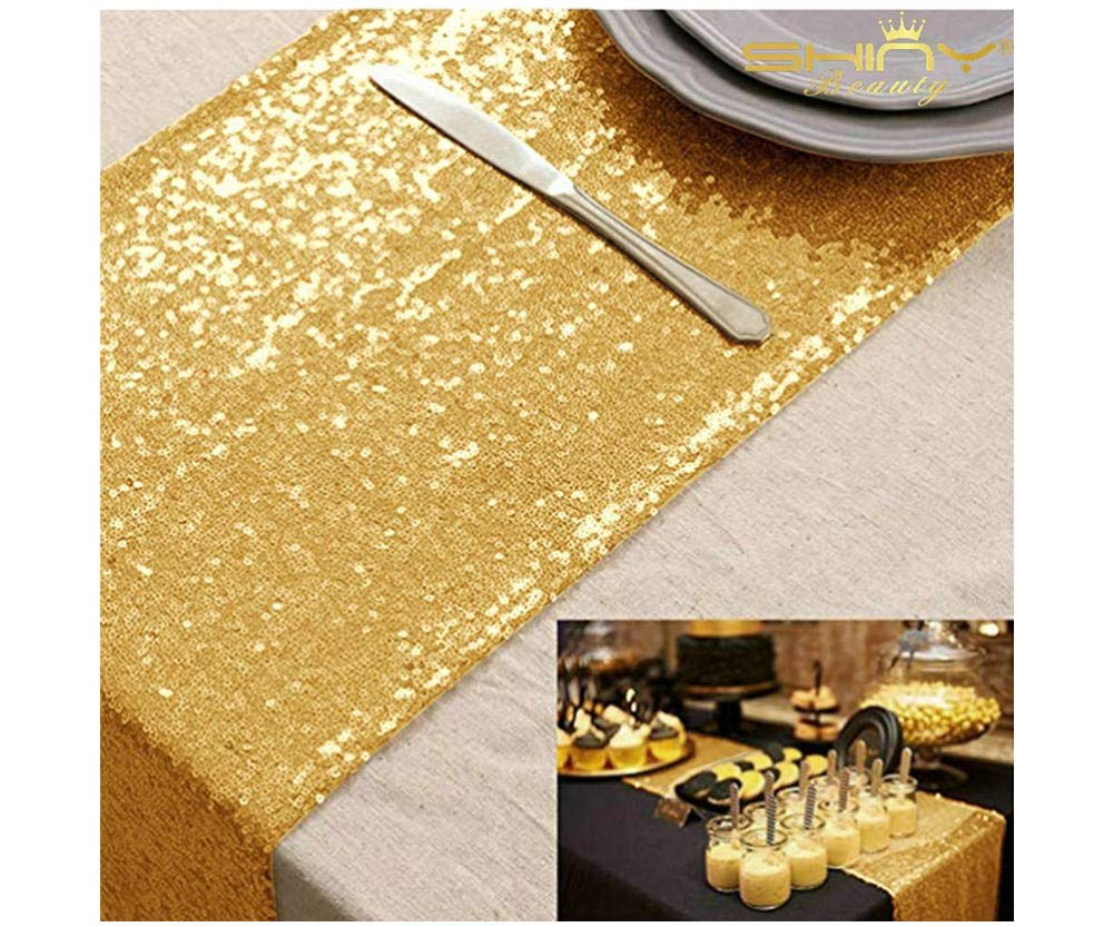 ShinyBeauty 6PCs 12 by 72 in Wedding Royal Sequin-Gold-Plates Party Supplies Sequeen Table Runnes -0719E by ShinyBeauty