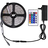 WenTop Led Strip Lights Kit Waterproof DC12V SMD 3528 16.4Ft (5M) 300leds 60leds/m RGB Flexible Tape Light with Power Supply and 24key Remote for TV Backlighting, Under Cabinet - RGB Colors Only