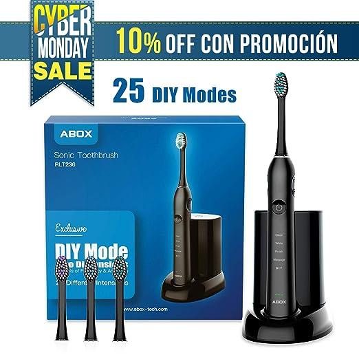 ABOX Cepillo de dientes eléctrico, 25 Modos con DIY, UV Desinfectante, 3 Cabezales de recambio y Estuche de viaje, IPX7 impermeable, Cepillo Sónico para ...