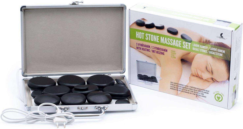 Piedras de lava de masaje (14 piezas) en un maletín de calefacción