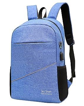 15 inch Mochila para Ordenador, Ordenador Portatil Colegio Mochilas Con USB Puerto De Carga, Anti-robo Aire cojines Casual Daypack azul: Amazon.es: Equipaje