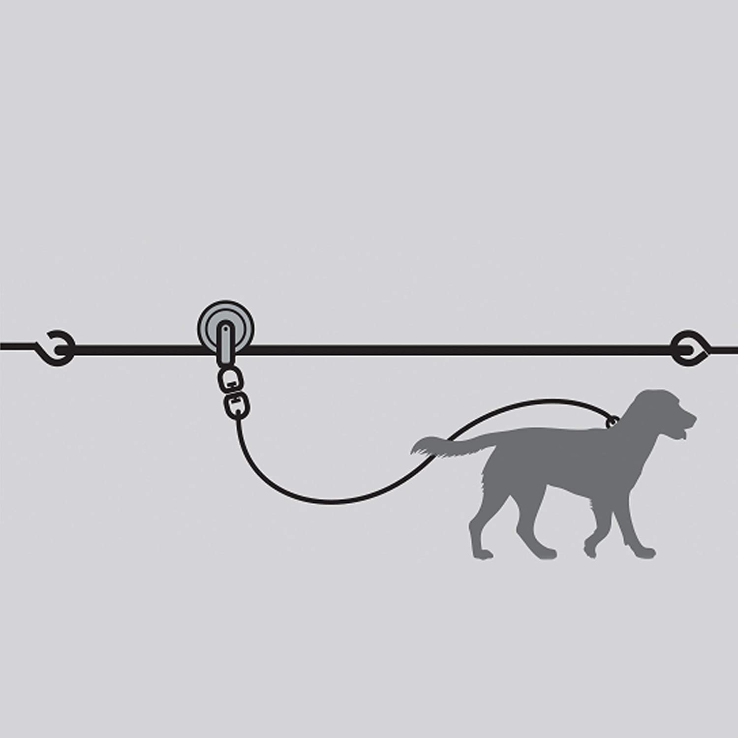 Large Dog Tie Out Cable 100ft Aerial Overhead Skyline