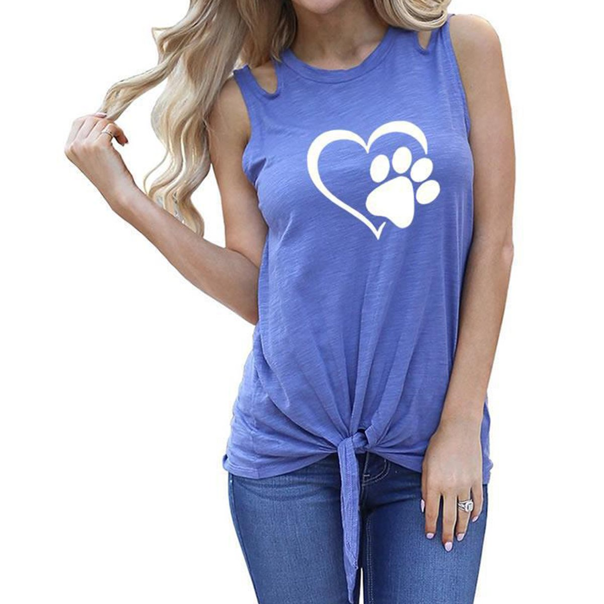 Women Paw Print Cut Out Shoulder Tank Top Tie Front Sleeveless T-Shirts Vest (Color : Blue, Size : S) Jahurto