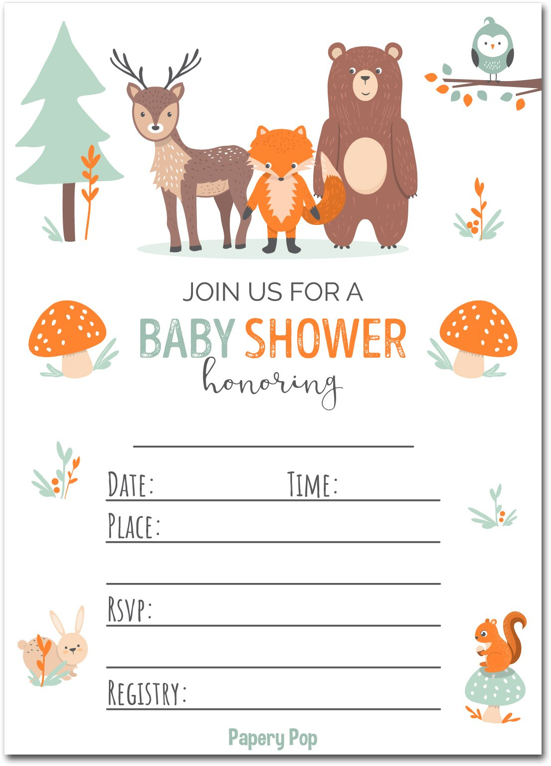 Papery Pop 30 Baby Shower Invitations Boy or Girl with Envelopes (30 Pack) - Gender Neutral - Fits Perfectly with Woodland Animals Baby Shower Decorations and Supplies