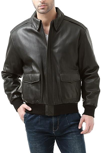 Aterrizaje de cuero hombre Premium Air Force A-2 Vuelo de piel de cabra Bomber chaqueta: Amazon.es: Ropa y accesorios