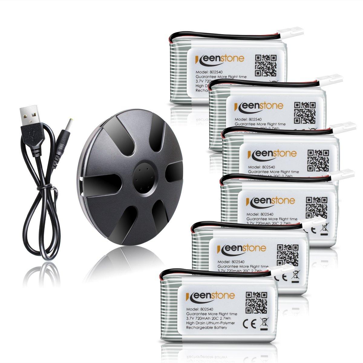 Keenstone Syma x5c bateria 6 Piezas 3.7V 720mAh 20C Litio batería + 1PCS Cagador con 6 Puerta para Syma X5C X5C-1 X5SC X5SC-1 X5SW, Cheerson CX-30W UDI U45 DROCON X708W RC Drone Quadcopter 1011028-1
