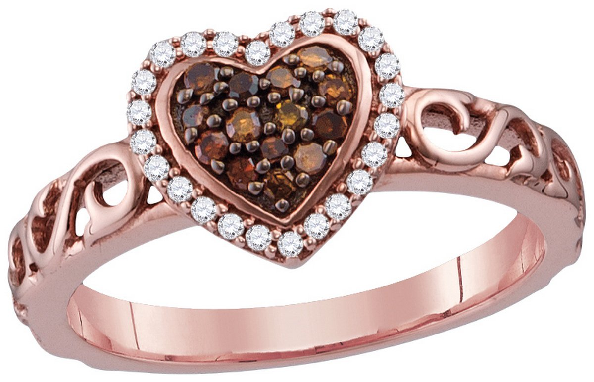 Size 8 - 10k Rose Gold Round Chocolate Brown Diamond Heart Love Ring (1/4 Cttw)