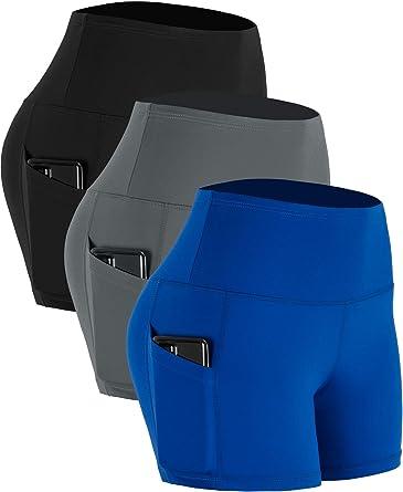 Cadmus Womens High Waist Stretch Running Workout Shorts with Pocket