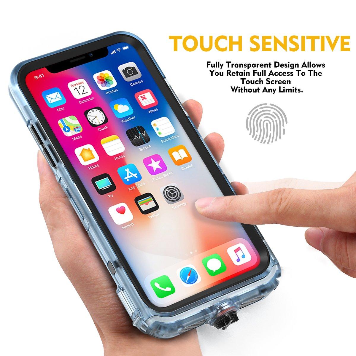 Cornmi iPhone X Waterproof Case, Full Sealed IP68 Certified Waterproof Shockproof Snowproof Protection Underwater Case for iPhone X 5.2inch (Black) by Cornmi (Image #3)
