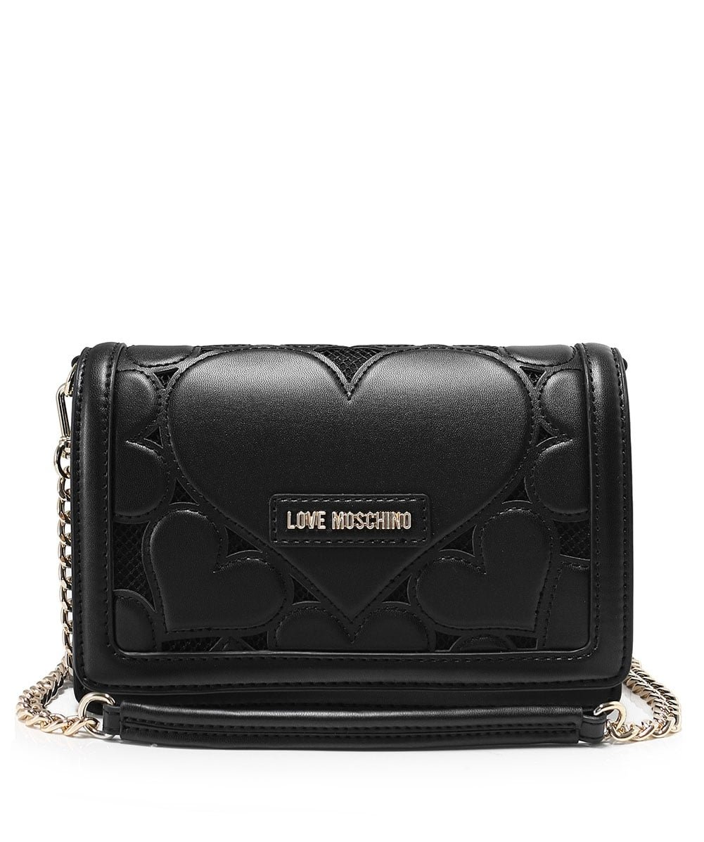 Love Moschino Women's Leather Fold Over Clutch Bag One Size Black