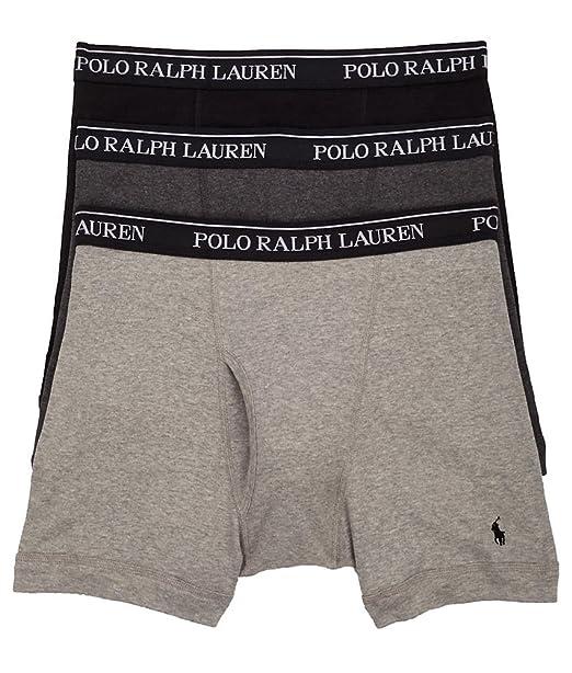 622925ddeae9 Polo Ralph Lauren Classic Cotton Boxer Brief 3-Pack, L, Grey Assorted