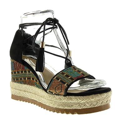 Angkorly Damen Schuhe Sandalen Mule - Plateauschuhe - Offen - Bestickt -  Fransen - Seil Keilabsatz
