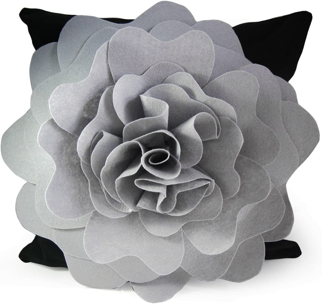"""kilofly Home Decorative Throw Pillow Cover, 18"""" x 18"""", 3D Floral Grey"""