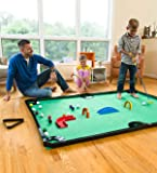 HearthSong Golf Pool Indoor Family Game Special, Includes Two Golf Clubs, 16 Balls, Green Mat, Rails, and Wooden Arches…