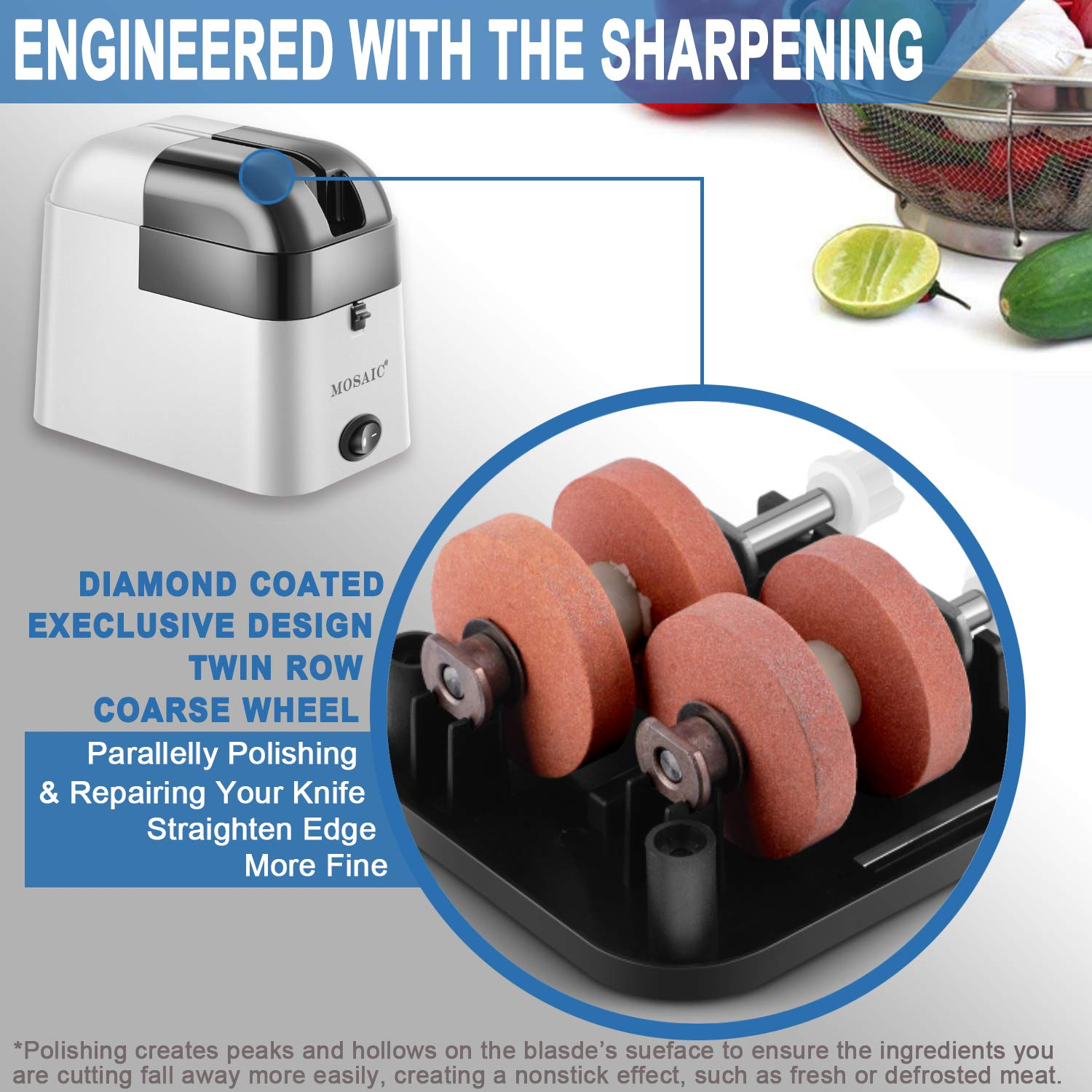 MOSAIC Electric Knife Sharpener with Detachable Diamond Wheel for Straight Knives, Knives Sharpening Tool with Waterproof Function and Non-Slip Base - Grey by Mosaic (Image #3)