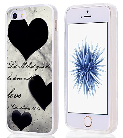 separation shoes f936a e9eb6 Case For Iphone 5S,Hungo Compatible Soft Tpu Silicone Protective Cover Case  Replacement For Iphone 5/5S/SE Christian Quotes Bible Verses Let All That  ...