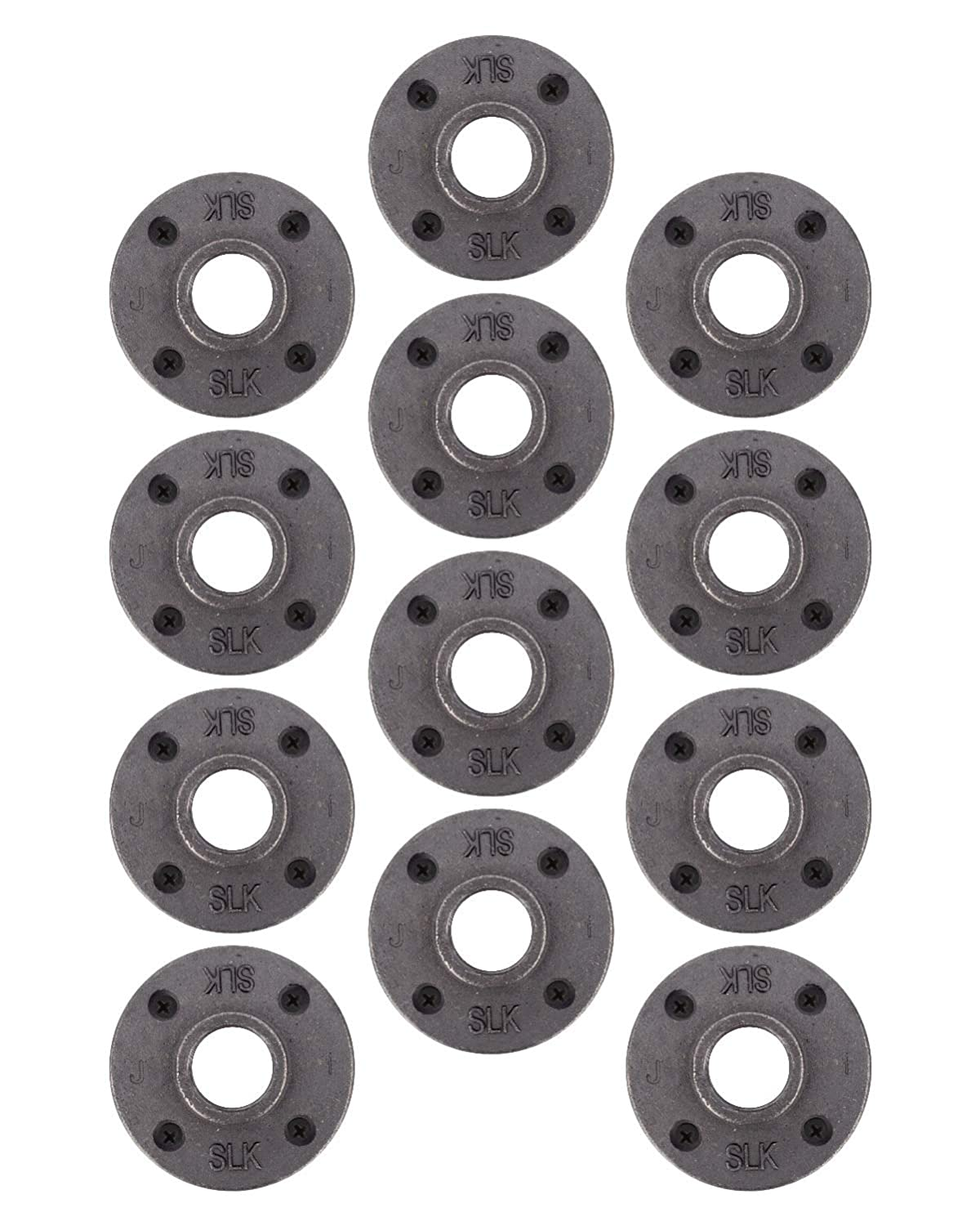 """Pipe Decor 1"""" Malleable Cast Iron Floor Flange 12 Pack, Industrial Steel Grey Fits Standard Half Inch Threaded Black Pipes and Fittings, Build Vintage DIY Furniture Shelving, Twelve Plumbing Flanges"""