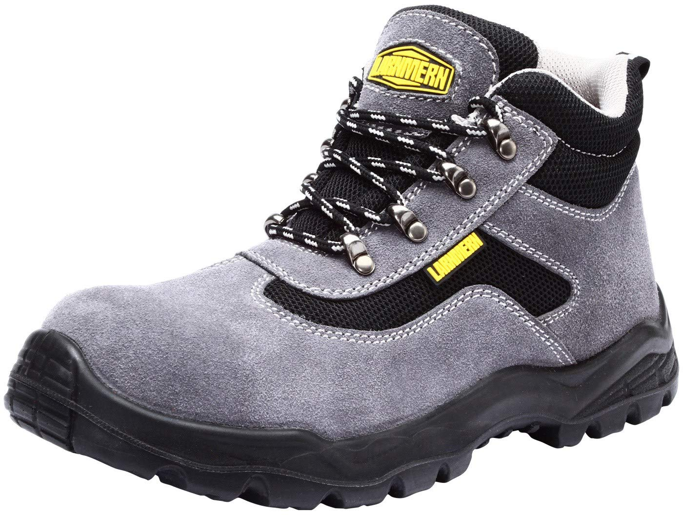 LARNMERN Mens Steel Toe Safety Shoes, LM-8080 Insulated Work Boots Reflective Slip Resistant (9, Grey)