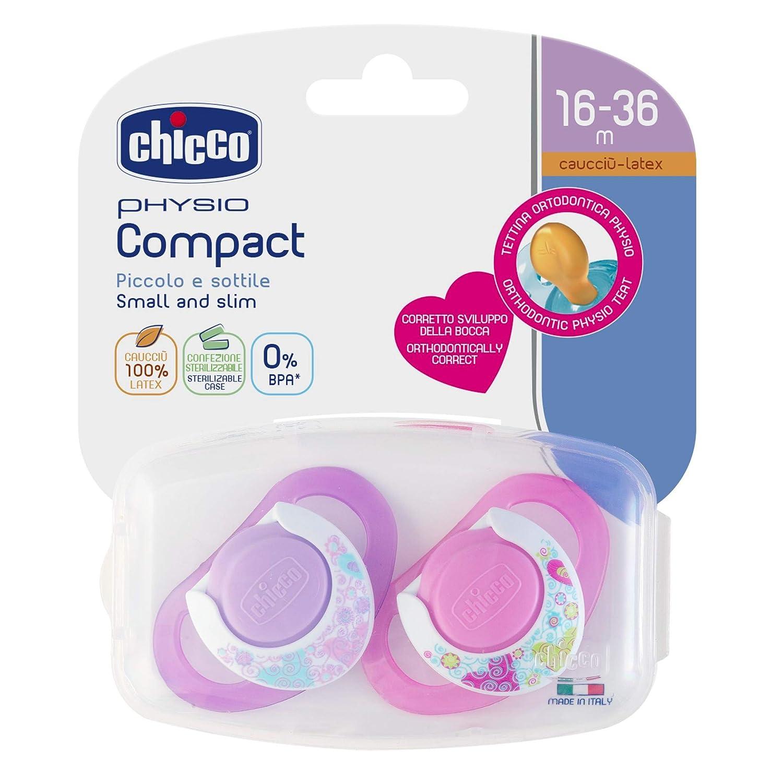 Chicco Physio Compact - Pack de 2 chupetes de látex/caucho ...