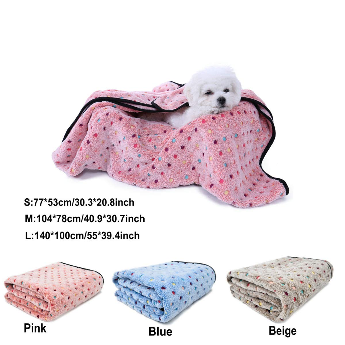 PAWZ Road Pet Dog Manta Fluffy Fleece Fabric Suave y Linda Warm Dot Print Manta Lavable para Gatos y Perros Rojo 77 * 53cm: Amazon.es: Productos para ...