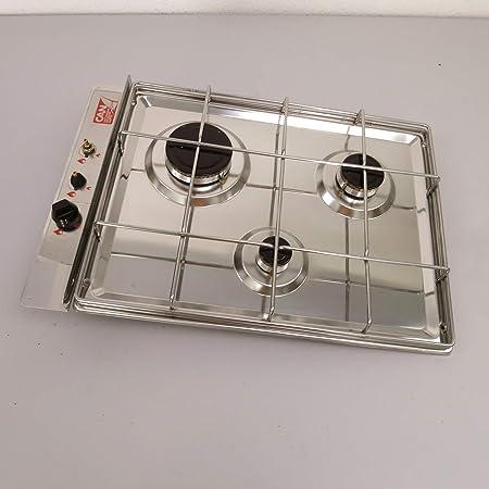CAN - Cocina de gas de acero inoxidable, 3 focos, 535 x 360 ...