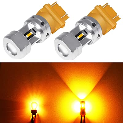 Phinlion 3600 Lumens 3157 3457 Amber LED Turn Signal Light Bulbs Super Bright 3156 3057 3757 4157 LED Bulb for Turn Signal Blinker and Parking Lights, Amber Yellow: Automotive