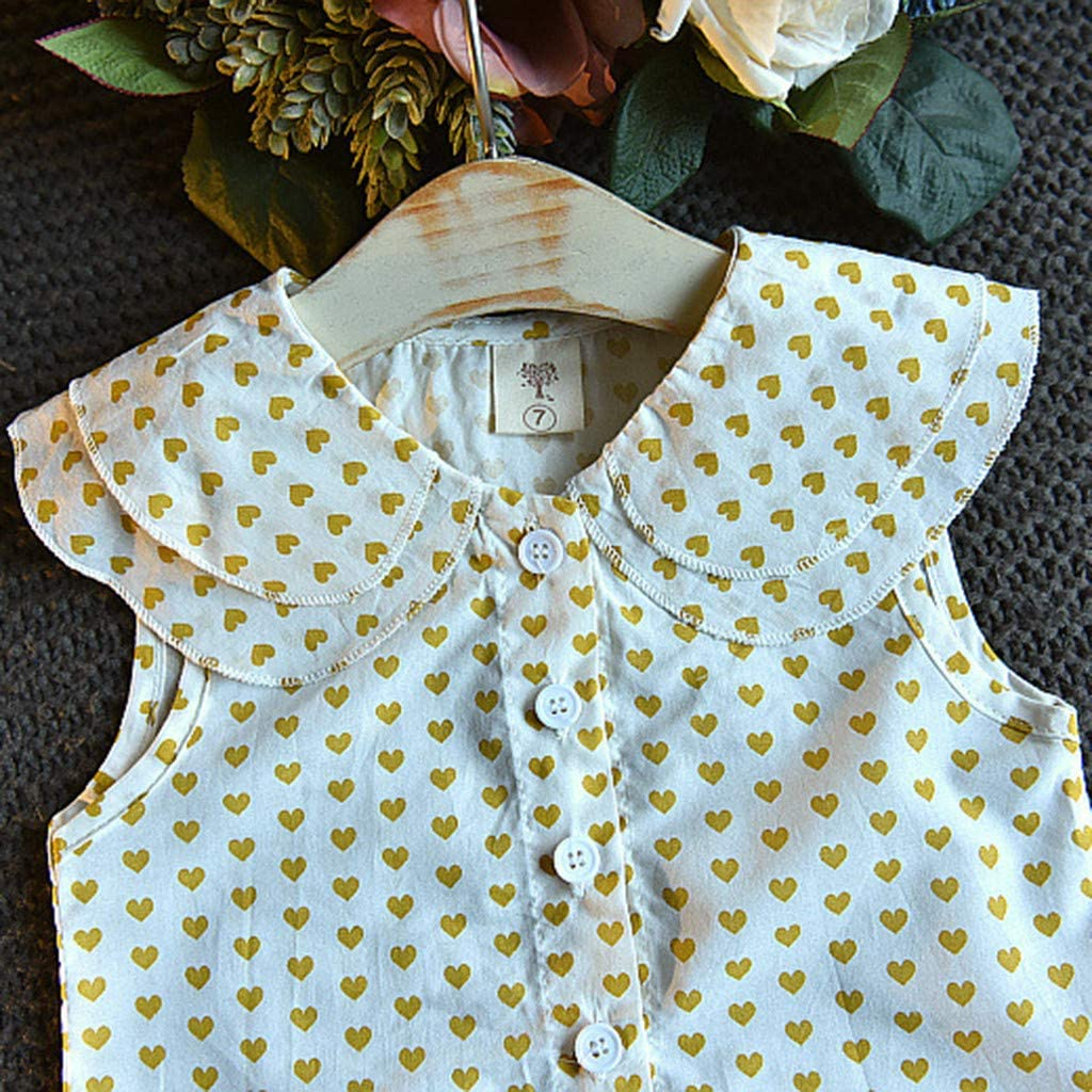 2-3 Years, Yellow Toddler Baby Girl Dot Set ❣ Infant Cute Love Graphic Doll Collar Sleeveless Button Up Tops ❣ A Line Pleated Skirts ❣ 2pc Clothes Sets