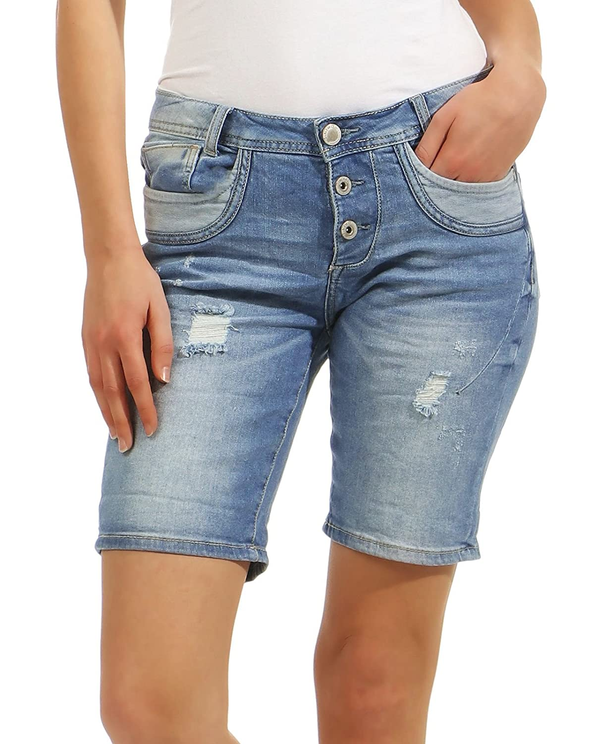 aa5ed26fa6d615 Sublevel Damen Jeans Shorts LSL-327 Bermuda Pants Used Look 60%OFF ...
