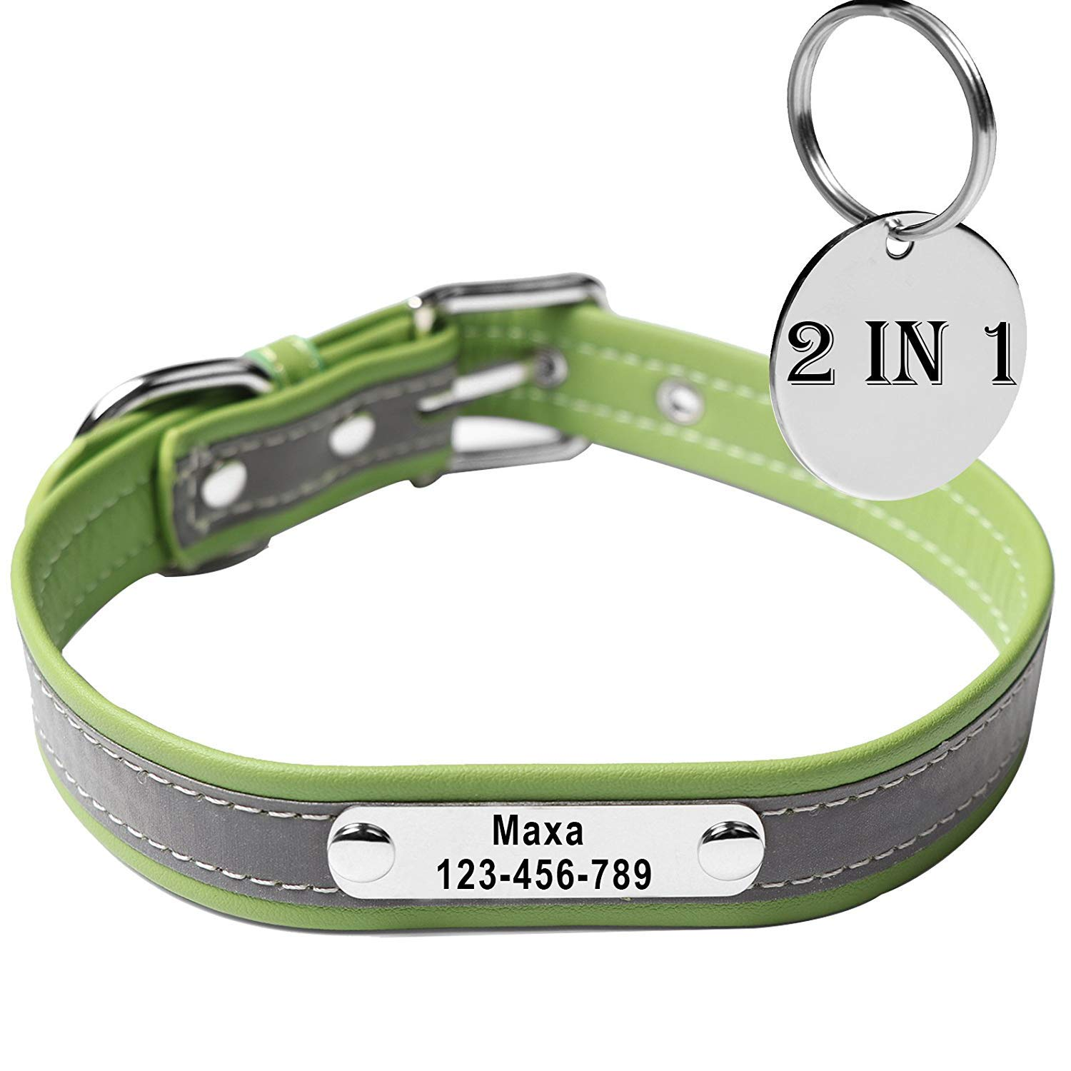 JJYPet Engraved Leather Dog/Cat Collars Personalized Collar with Name Plated for Small Medium Large (XL, Green-Reflective)