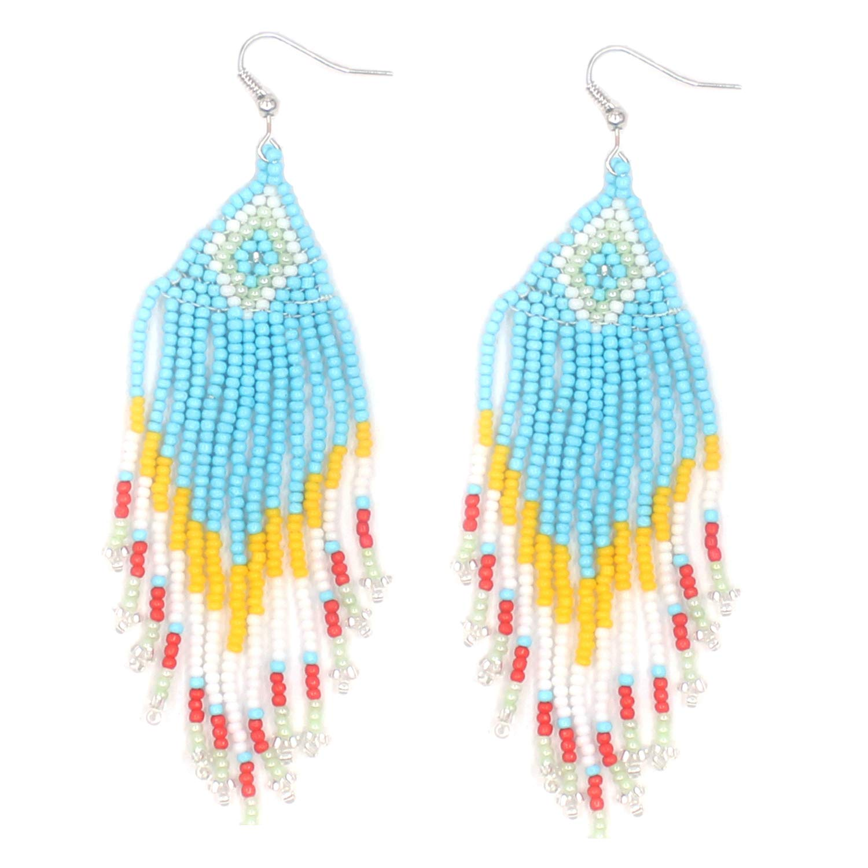 KSQS Bohemian Beaded Round Drop Earrings Trend Handmade Beaded Tassel Dangle Earrings for Lady Women