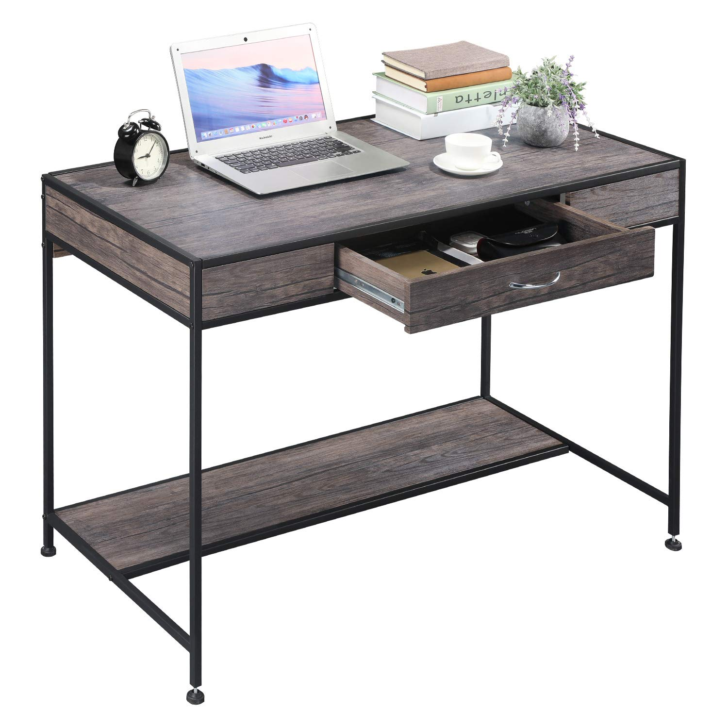 Aingoo Computer Writing Desk with Drawers,Home Office Rustic Metal MDF Wood Mid Century Large PC Table for Brown Farmhouse