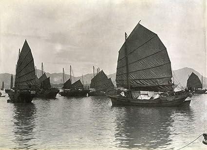 Amazon com: Hong Kong C1910 Njunks Drying Their Sails In