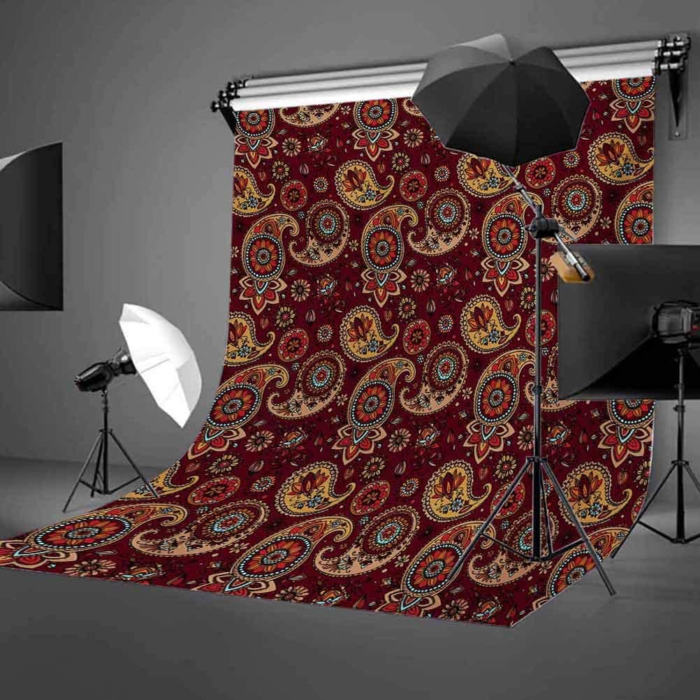 Paisley 8x10 FT Photo Backdrops,Middle Culture Stylized Pattern Tribual Artwork Bohemian Background for Child Baby Shower Photo Vinyl Studio Prop Photobooth Photoshoot Chestnut Brown Mustard Teal