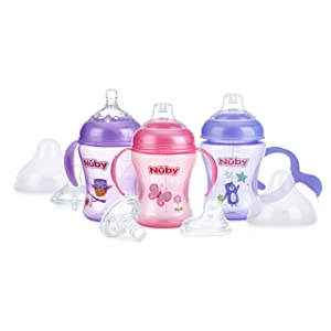 Nuby 3 Piece Natural Touch 3 Stage Wide Neck Breast Size Bottle-to-Cup, Girl