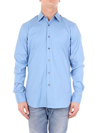 the latest 19aba a899e Prada UCM608F62 Camicia Uomo Cielo 39: Amazon.it: Abbigliamento