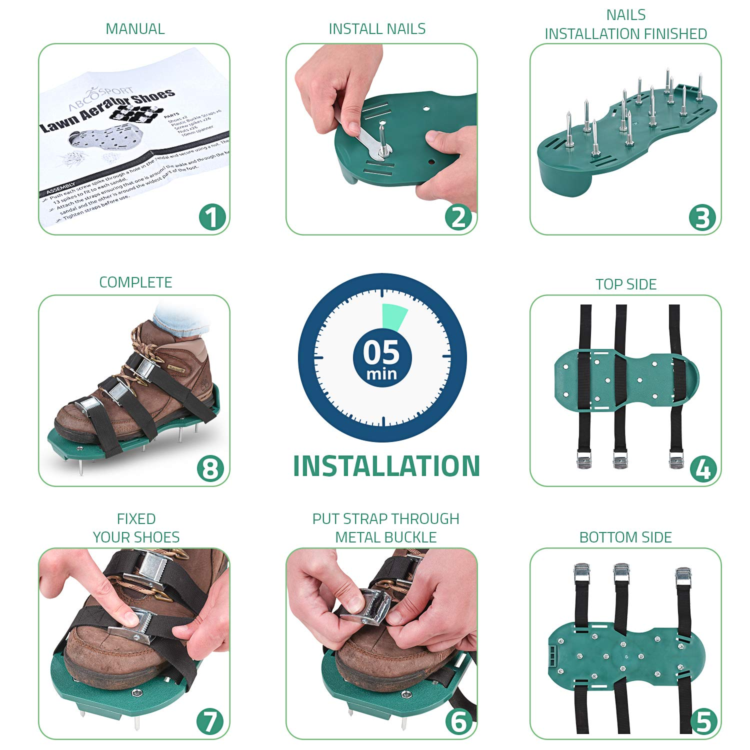 032f156811f7e Amazon.com   Lawn Aerator Spike Shoes - For Effectively Aerating Lawn Soil  - Comes with 3 Adjustable Straps with Metallic Buckles - Universal Size  that Fits ...