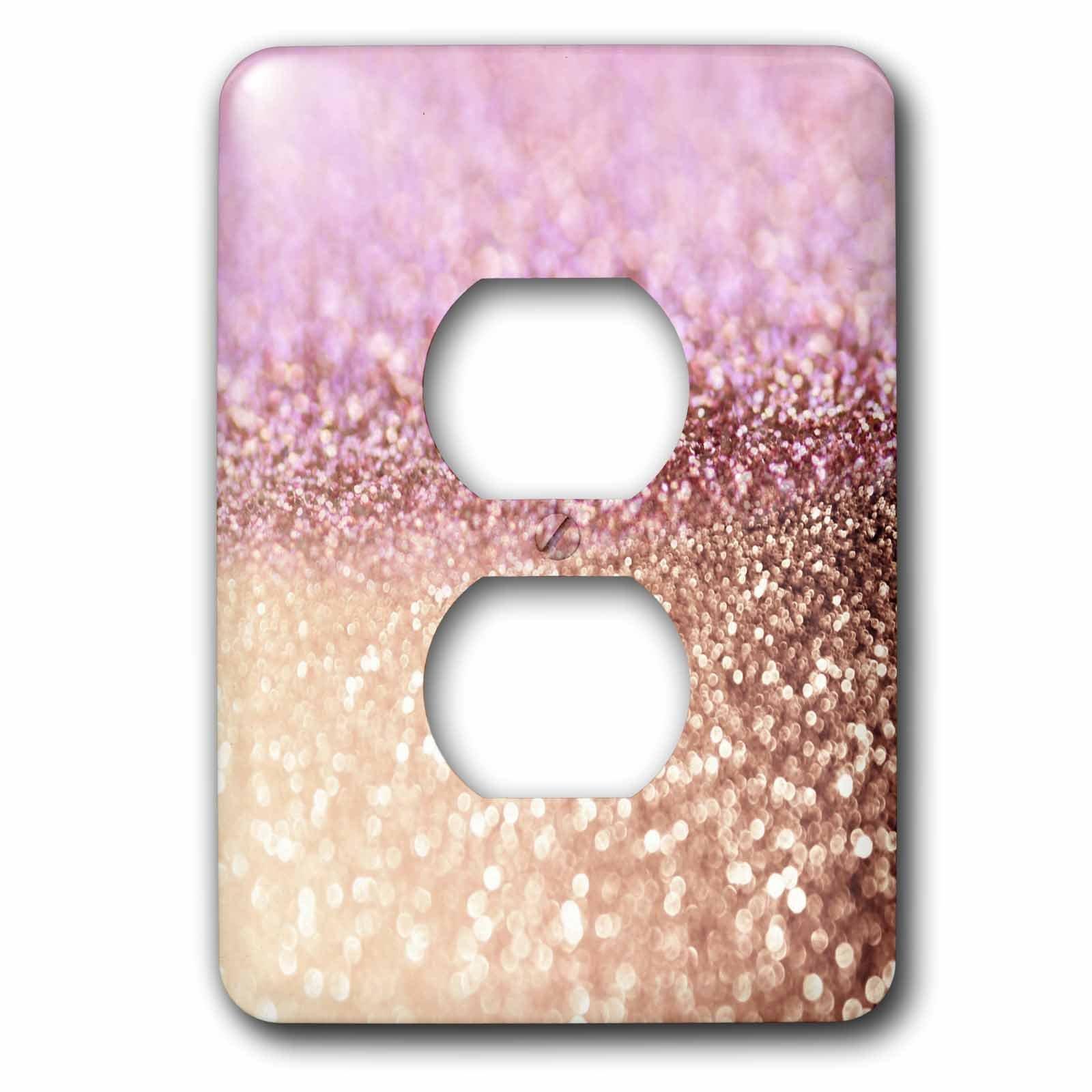 3dRose (lsp_272849_6) 2 Plug Outlet Cover (6) 2 Sparkling Rose Gold Pink Luxury Shine Girly Elegant Mermaid Glitter