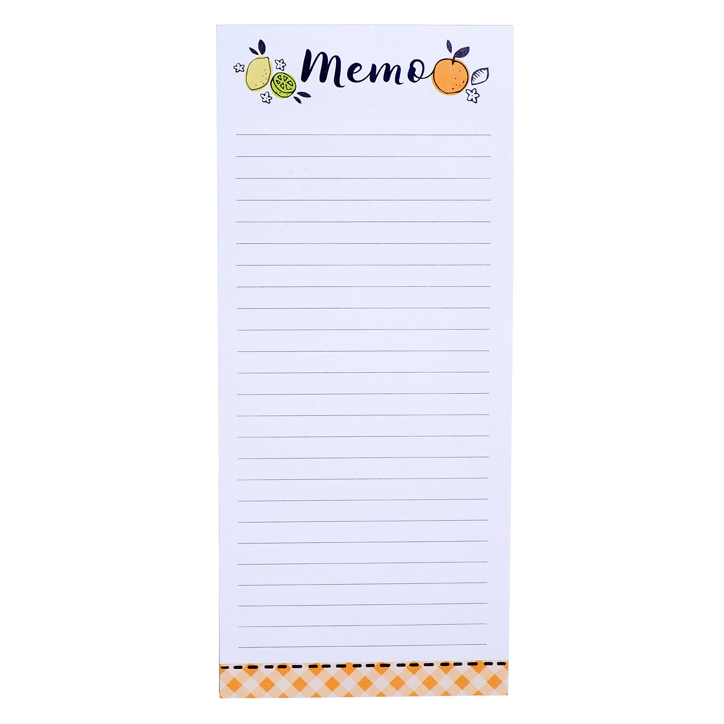 Darice 30041323 Magnetic Notepad: Citrus, 3.5 x 8 inches, 80 Sheets Memo Pad