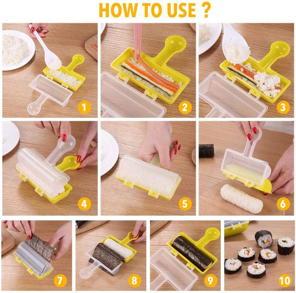 talogca Sushi Making Mold Pre-Measured Rice Frame And Spoon DIY Sushi Roller Machine Rice Balls Cooking Tool Kitchen Supplies